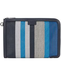 BOSS by Hugo Boss Document Case With Woven Colour-block Stripes - Blue