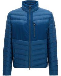 BOSS Green Water-repellent Coat In A Regular Fit - Blue