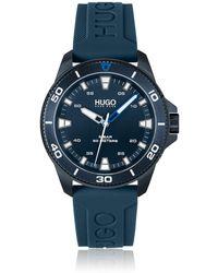 HUGO Blaue Uhr mit Logo-Silikonarmband