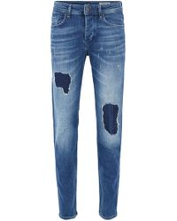 BOSS - Vintage-blue Tapered-fit Stretch-denim Jeans With Destroyed Effects - Lyst
