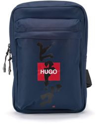 HUGO Mono-strap Backpack With Logo And Japanese Ideogram - Blue