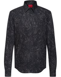 HUGO Slim-fit Overhemd Van Katoen Met Abstracte Print - Grijs