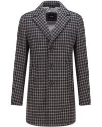 BOSS by HUGO BOSS Houndstooth Coat In An Italian Wool Blend - Black