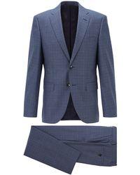 BOSS Regular-fit Suit In Patterned Virgin-wool Serge - Blue