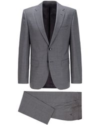 BOSS by Hugo Boss Regular-fit Suit In Virgin-wool Serge - Metallic