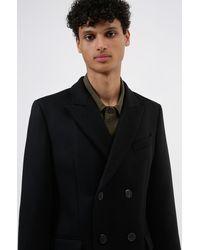 HUGO Slim-fit Mantel Van Een Wolmix Met Kasjmier - Zwart