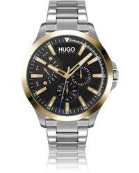 HUGO Uhr mit Gliederarmband und schwarzem strukturiertem Zifferblatt - Mettallic