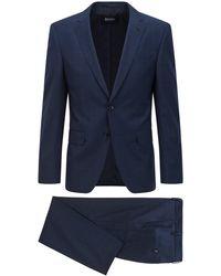 BOSS by HUGO BOSS Slim-fit Suit In Checked Responsible Virgin Wool - Blue