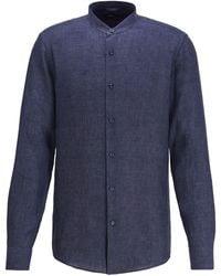 BOSS Collarless Slim-fit Shirt In Italian Linen - Blue