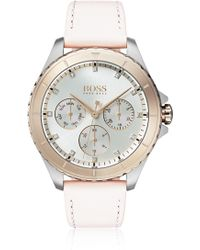 BOSS - Stainless-steel Watch With Coloured Bezel And Crystal Hour Markers - Lyst