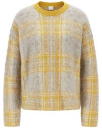 BOSS Relaxed-fit Jumper In Brushed Check Jacquard - Yellow