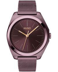 HUGO Reloj con pulsera de malla y caja color berenjena - Morado