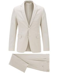 BOSS by Hugo Boss Slim-fit Suit In Stretch Cotton - White