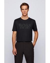 BOSS by HUGO BOSS T-shirt Slim Fit en coton à logo effet doré - Noir