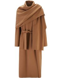 BOSS Relaxed-fit Belted Trench Coat With Detachable Shawl - Brown
