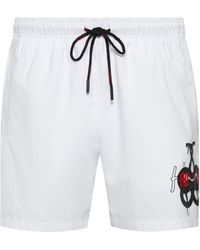 HUGO Quick-dry Swim Shorts With Snake Artwork And Logo - White