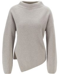 BOSS Relaxed-fit Cashmere Jumper With Asymmetrical Front - Gray