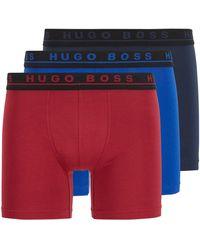 BOSS by HUGO BOSS Lot de trois boxers longs en coton stretch - Bleu