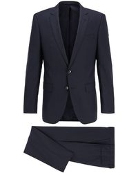 BOSS Slim-fit Suit In Micro-patterned Virgin Wool Serge - Blue