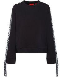 HUGO Logo-tape Sweatshirt In Organic-cotton Terry - Black