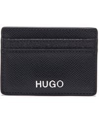 HUGO Italian-leather Card Holder With Sparkly Contrasts - Black