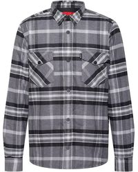 HUGO Oversized-fit Gewatteerd Overshirt Van Geruite Katoenflanel - Grijs