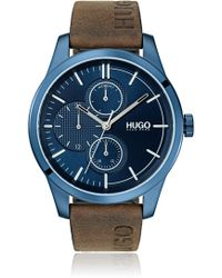 HUGO - Blue-plated Stainless-steel Watch With Logo Strap - Lyst