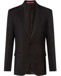 HUGO Chaqueta regular fit de lana virgen con elástico natural - Negro