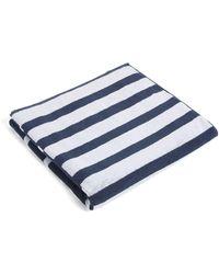 BOSS by HUGO BOSS Toalla de playa de rizo de algodón con rayas de estilo patchwork y logo - Azul