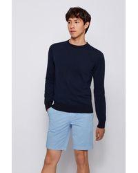 BOSS by HUGO BOSS Pull Slim Fit en coton avec col à bord roulotté - Bleu