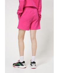 HUGO Relaxed-fit Shorts In Sweatstof Van Recot2®-katoen - Roze
