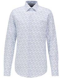 BOSS by Hugo Boss Slim-fit Shirt In Italian Satin With Collection Print - Blue