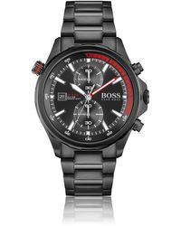 BOSS by HUGO BOSS Black-plated Chronograph Watch With Rotating Reflector Ring