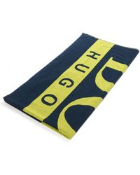 BOSS by Hugo Boss Beach Towel In Cotton Terry With Large Scale Logo - Blue
