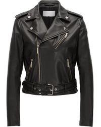 BOSS - Biker Jacket In Rich Plongé Leather - Lyst
