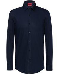 HUGO Camisa business slim fit en popelín de algodón - Azul