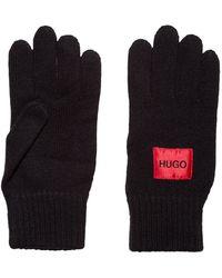 HUGO Logo Gloves In A Virgin-wool Blend - Black