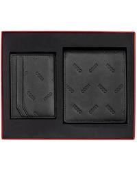 HUGO Logo-embossed Leather Wallet And Card Holder Gift Set - Black