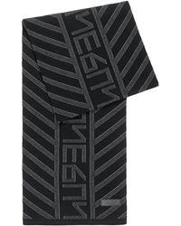 HUGO New-season Logo Scarf With Jacquard-knitted Pattern - Black