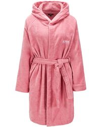 BOSS Short Hooded Dressing Gown In Egyptian Cotton - Pink