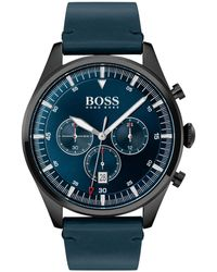 BOSS by Hugo Boss Pioneer Chronograph Leather Strap Watch - Blue