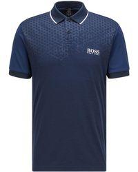 BOSS by HUGO BOSS Slim-fit Polo Met Zeshoekige Print En S.café® - Blauw