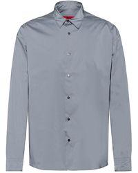 HUGO Oversized Hemd aus reflektierendem Canvas in Silber-Optik - Mettallic