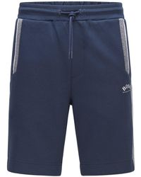 BOSS by HUGO BOSS Cotton-blend Regular-fit Shorts With Colour-blocking - Blue