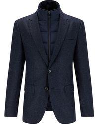 BOSS by HUGO BOSS Slim-Fit Tweed-Jackett mit wattiertem Einsatz zum Herausnehmen - Blau