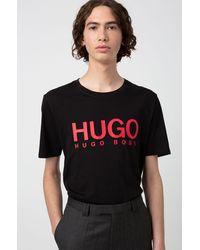 HUGO T-shirt à col rond avec logo imprimé contrastant - Noir
