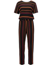 BOSS - Multi-coloured Striped Jumpsuit In Draped Twill - Lyst
