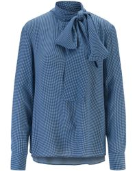 BOSS Diamond-print Blouse In Crepe With Tie Neck - Blue
