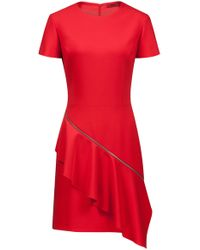 HUGO - Short-sleeve Dress With Zipped Volant Detail - Lyst