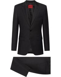 HUGO Regular-fit Suit In Micro-patterned Virgin Wool - Grey